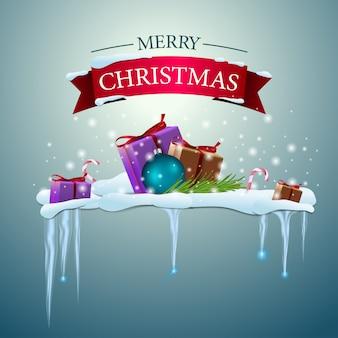 ハッピークリスマスのロゴとギフト