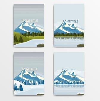 雪の多い山々と湖のイラストレーションのセット。ベクター