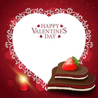チョコレート菓子と赤いバレンタインのグリーティングカード