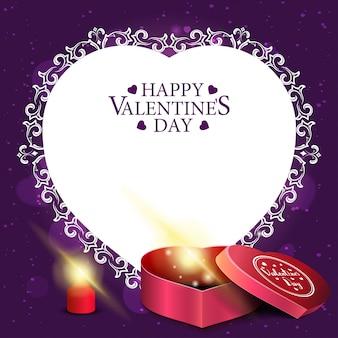 紫のバレンタインデーのグリーティングカード