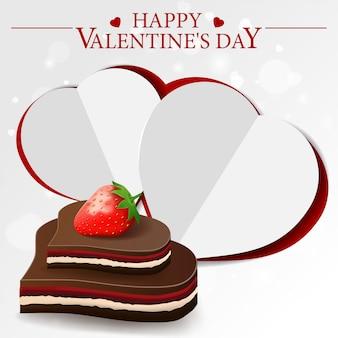 チョコレート菓子と白いバレンタインのグリーティングカード