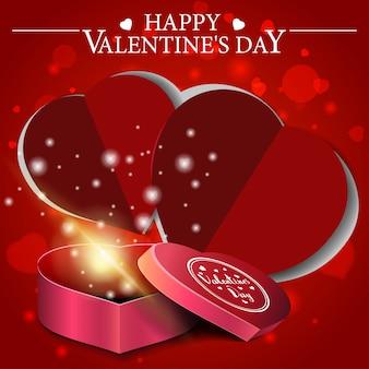 ハートの形のギフトと赤いバレンタインのグリーティングカード