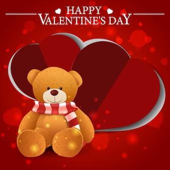 テディベアと赤いバレンタインのグリーティングカード