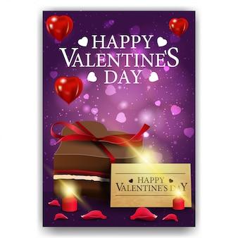 チョコレート菓子と紫のバレンタインデーのカバー