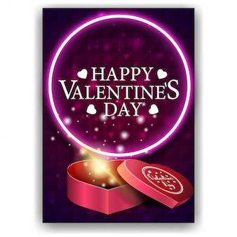 Фиолетовая обложка на день святого валентина с подарком в форме сердца