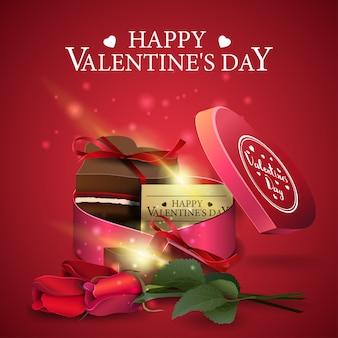 Красная открытка ко дню святого валентина