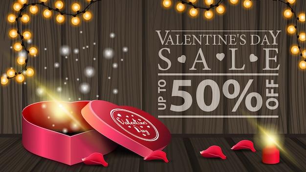 Горизонтальный баннер со скидкой на день святого валентина