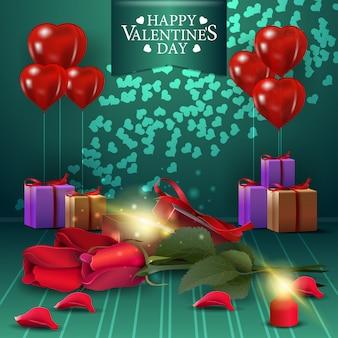 Зеленая поздравительная открытка дня святого валентина