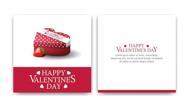 チョコレート菓子とバレンタインのグリーティングカードホワイトカード
