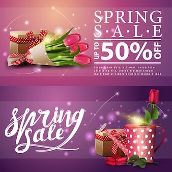 Весенние распродажи баннеров с розой в лейке и букетом тюльпанов