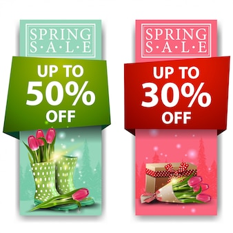 Весенние распродажи баннеров с букетом тюльпанов