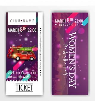 チューリップが付いている車が付いている女性の日の党のための切符