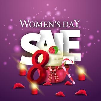 Женский день скидка современный фиолетовый баннер с кексом
