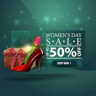 Женский день скидка современный зеленый баннер с женской обуви