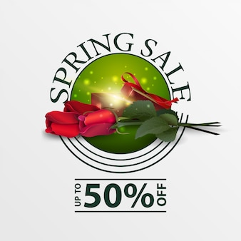 バラとギフトのモダンなラウンドグリーン春販売バナー