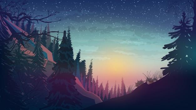 松の森と山々に沈む夕日