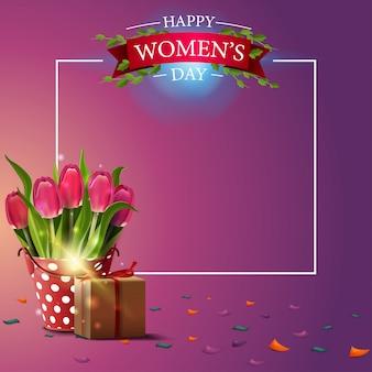 女性の日にモダンなピンクの挨拶はがきテンプレート