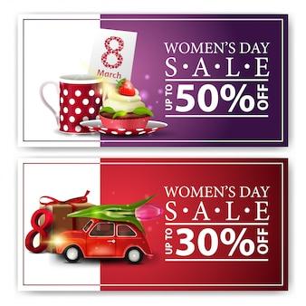 女性の日に現代の水平割引バナー