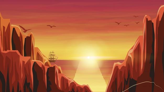 海のオレンジ色の夕日