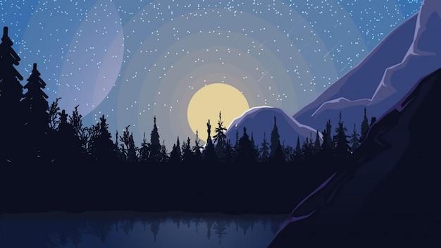 山の麓の松林の中の湖