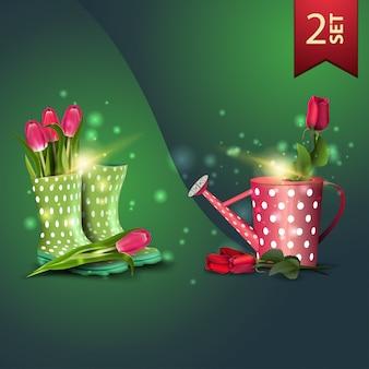 春のお祝い、女性のゴム長靴のチューリップ、じょうろのバラのアイコンセット