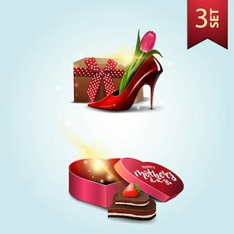 Набор иконок на день матери, женская обувь с тюльпанами внутри, подарок в форме сердца и конфеты