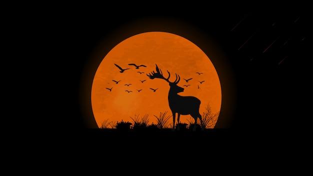 フィールド、鹿、鳥、草のシルエットの夕日