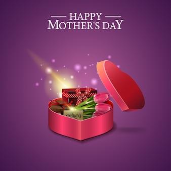 Открытка ко дню матери с подарочной коробкой в форме сердца