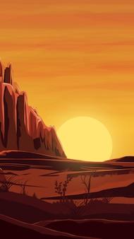 砂漠、オレンジ色の夕日、山々、砂