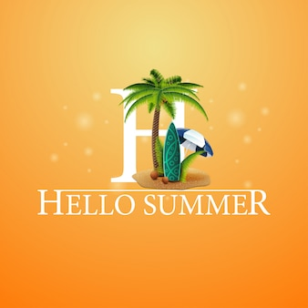 Здравствуй лето, оранжевая открытка с ладонью и доской для серфинга