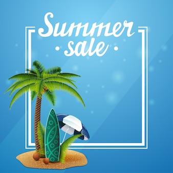 Летняя распродажа, синий шаблон для вашего искусства с рамкой и местом для текста