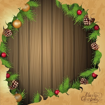 クリスマスカード用のテンプレート。クリスマスツリーの古い紙