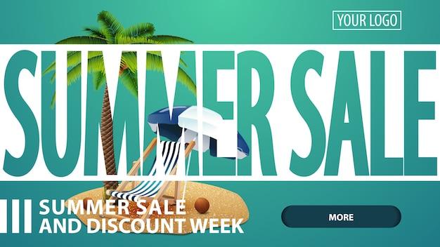 Летняя распродажа, креативная зеленая скидка, веб-баннер для вашего сайта