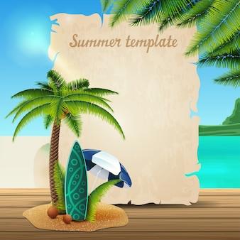 羊皮紙の形で夏バナーテンプレート