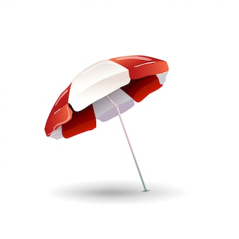 Пляжный зонт на белом фоне