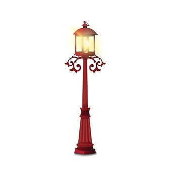 Старинный уличный фонарь на белом фоне
