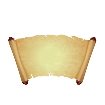 白で隔離される古い羊皮紙