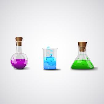 化学実験室用フラスコ。現実的なベクトルのアイコン。