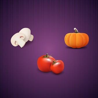 キノコ、カボチャ、トマト。現実的なベクトルのアイコン。