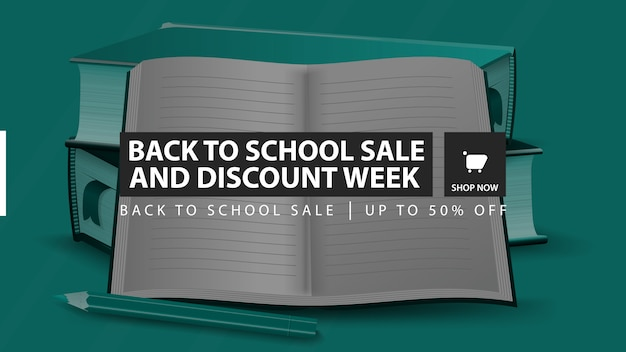 新学期セールと割引週間、緑の水平割引バナー