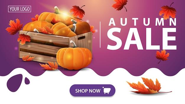 秋の販売、熟したカボチャと紅葉の木箱とピンクのバナー