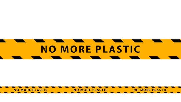 これ以上のプラスチック、黄色-白い背景に黒の警告テープはありません。