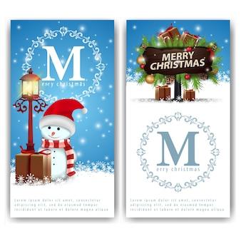 クリスマスバナーテンプレート、雪だるまと木製のポインタ