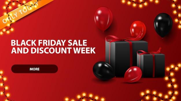Черная пятница, распродажа и скидки, красный горизонтальный баннер со скидкой с воздушными шарами и подарками