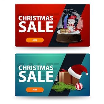 Рождественские скидки баннеры с подарками на белом фоне. красные и зеленые шаблоны