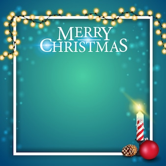 Рождественский шаблон для открытки или дисконтного баннера с рождественской гирляндой, свечой и конусом