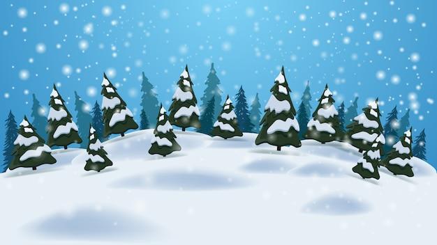 Зимний пейзаж с фоном голубого неба