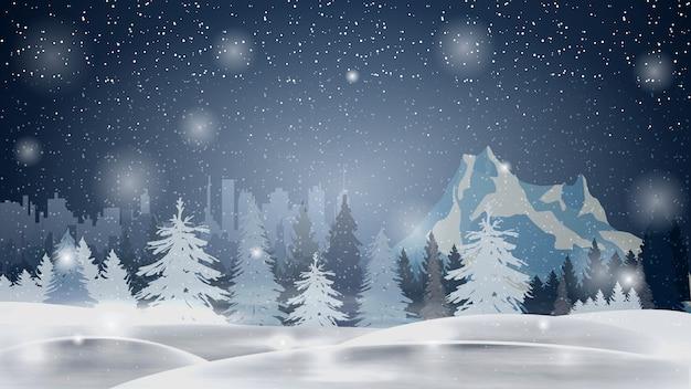 Мультфильм зимний пейзаж с сосновым лесом, горы и город на горизонте