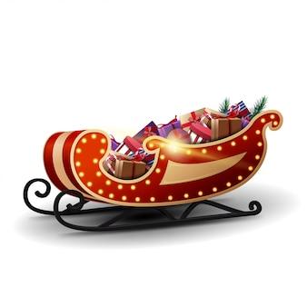 Современные сани санта-клауса с желтыми огнями и множеством подарков