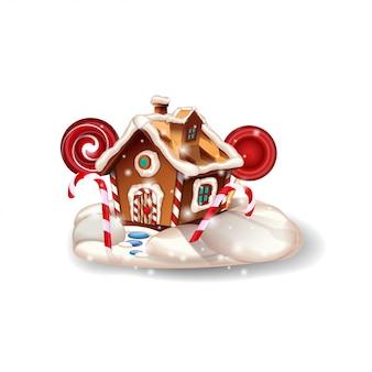 Рождественский пряничный домик со взбитыми сливками и конфетой на белом фоне для вашего творчества